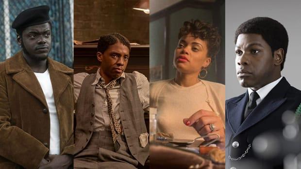 2021 Golden Globe winners Daniel Kaluuya, Chadwick Boseman, Andra Day, and John Boyega
