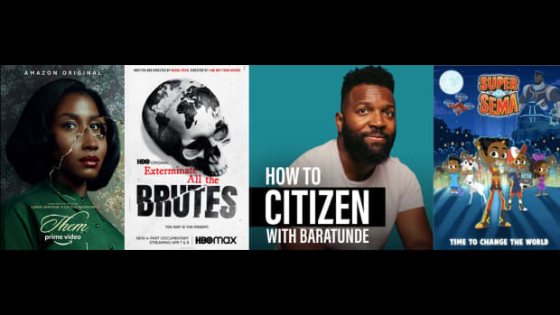 Key art for Them, Exterminate All the Brutes, How to Citizen with Baratunde, and Super Sema