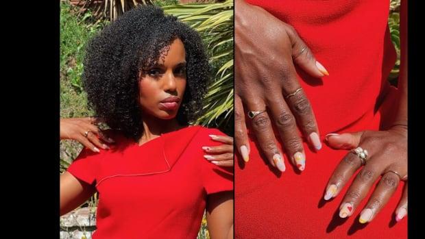 Kerry Washington sports a manicure created by Kim Truong using OPI nail polish.