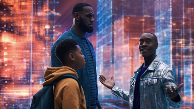 Cedric Joe, LeBron James, and Don Cheadle in Space Jam: A New Legacy