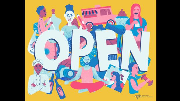 """Wells Fargo Artist-in-Residence Sophia Yeshi's """"OPEN"""" Sign"""
