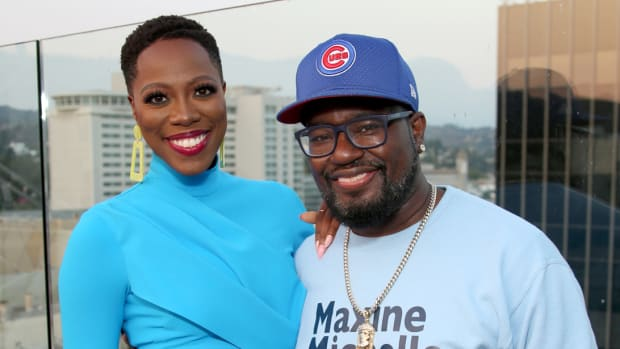 Yvonne Orji and Lil Rel Howery attend the Vacation Friends Special VIP Pool Party Screening at The Hollywood Roosevelt on August 23, 2021 in Los Angeles.