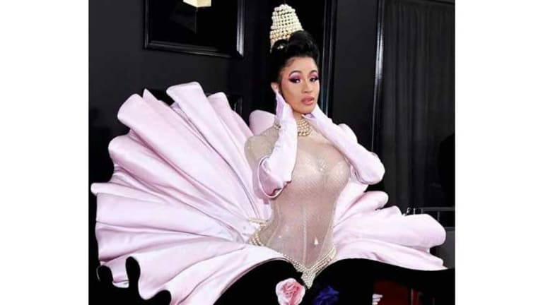 Get the Look: Cardi B's '90s Updo & Bedazzled Nails for the Grammys