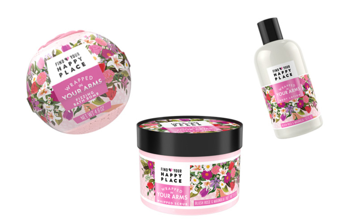 Wrapped in Your Arms Fizzing Bath Bomb, Whipped Scrub, and Body Lotion