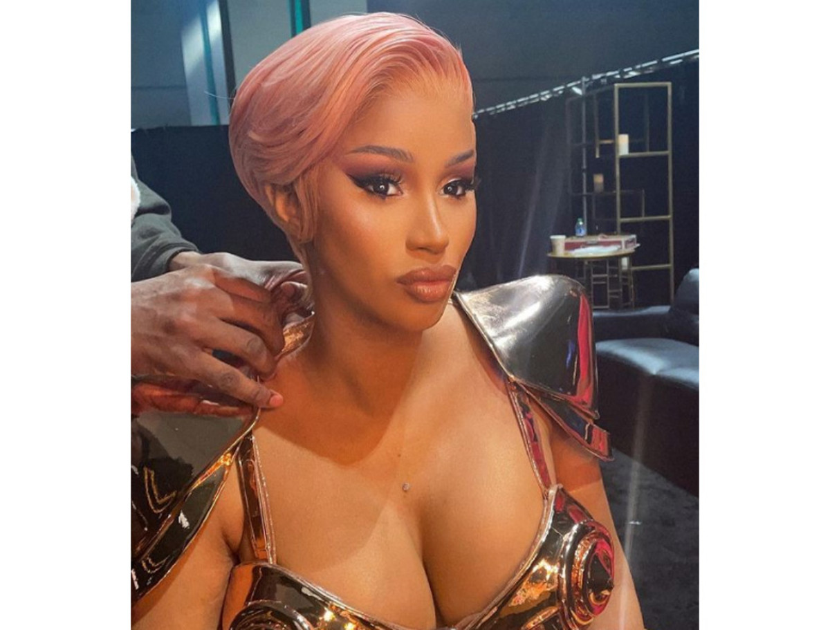 Close-up of Cardi B at the 63rd Annual Grammy Awards