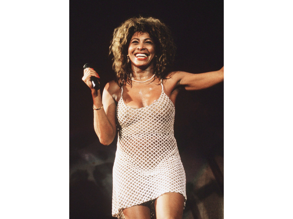 Tina Turner performas live on stage at Wembley Stadium in London in 1990