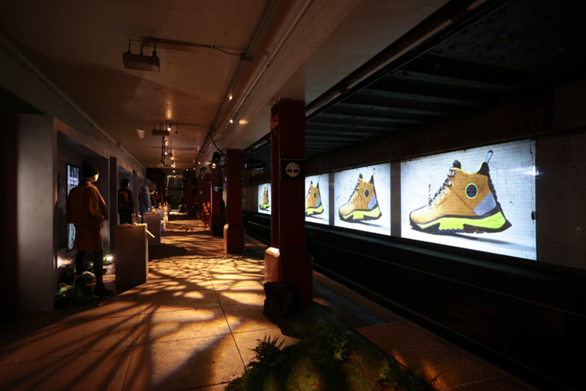 Timberland displayed the FW21 GreenStride collection on the platform of an abandoned subway station.