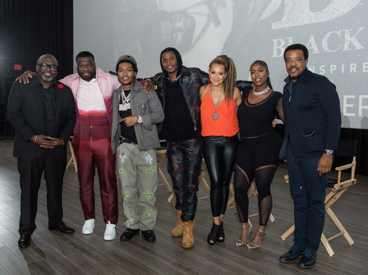 """BMF creative team and cast Randy Huggins, Curtis """"50 Cent"""" Jackson, Demetrius """"Lil Meech"""" Flenory Jr., Da'Vinchi, undefinedMichole Briana White, Arkeisha """"Kash Doll"""" Knight, and Russell Hornsby"""