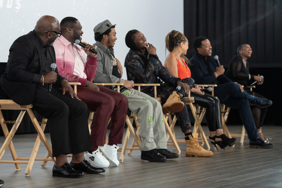 """Randy Huggins, Curtis """"50 Cent"""" Jackson,Demetrius """"Lil Meech"""" Flenory Jr., Da'Vinchi, undefinedMichole Briana White,Russell Hornsby, andArkeisha """"Kash Doll"""" Knight participate in a Q&A following a screening of the STARZ series."""