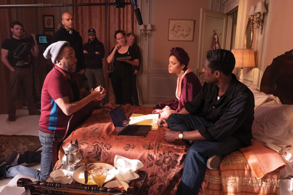 Director Lee Daniels, Andra Day (Billie Holiday), and Trevante Rhodes (Jimmy Fletcher) on the set of The United States vs. Billie Holiday