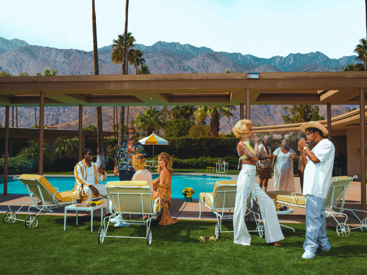 "Hype Williams's re-imagination of Slim Aarons's Desert House Party for MONOGRAM's ""The Good Life, Redefined"" campaign"