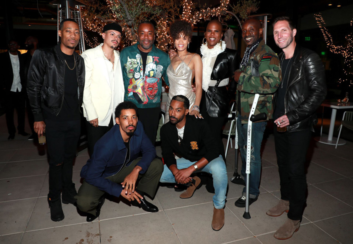(L-R) Tyler James Williams, Evan Ross, Melvin Gregg, Lee Daniels, Andra Day, Tone Bell, Miss Lawrence, Rob Morgan, and Blake Anthony DeLong attend Spring Place's Oscars party honoring Andra Day