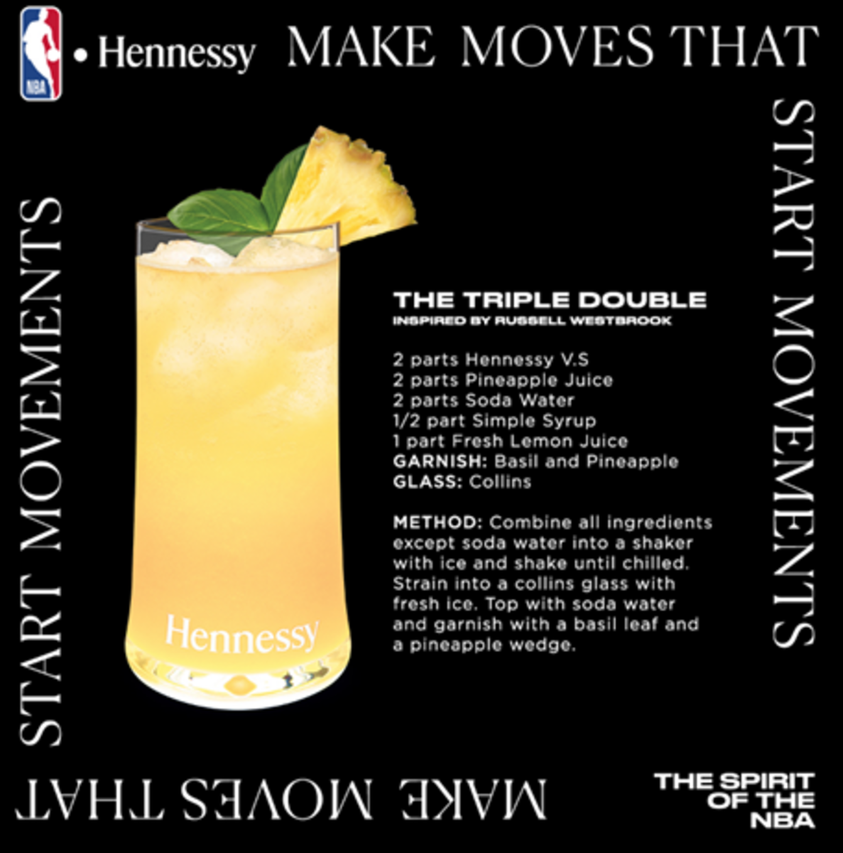 Recipe card for the Hennessy Triple Double cocktail