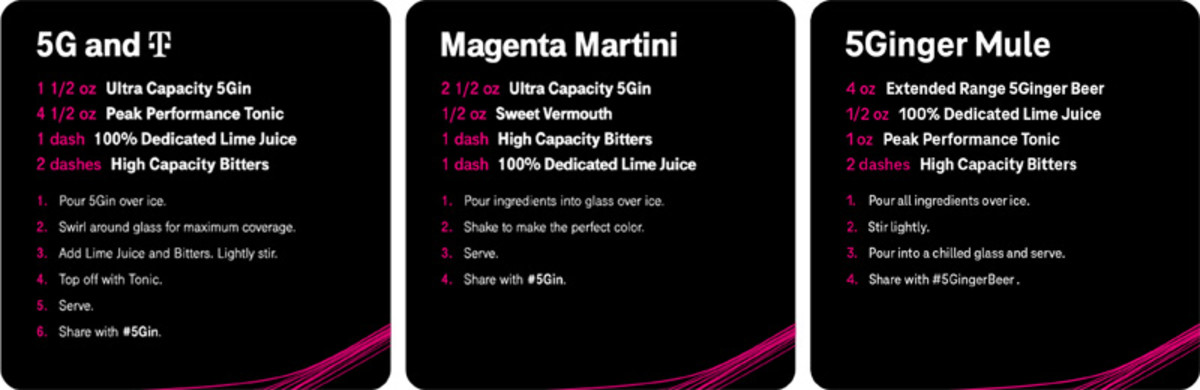 Recipes for the 5G and T, Magenta Martini, and 5Ginger Mule using the T-MobileUltra Capacity 5Gin orExtended Range 5Ginger Beer