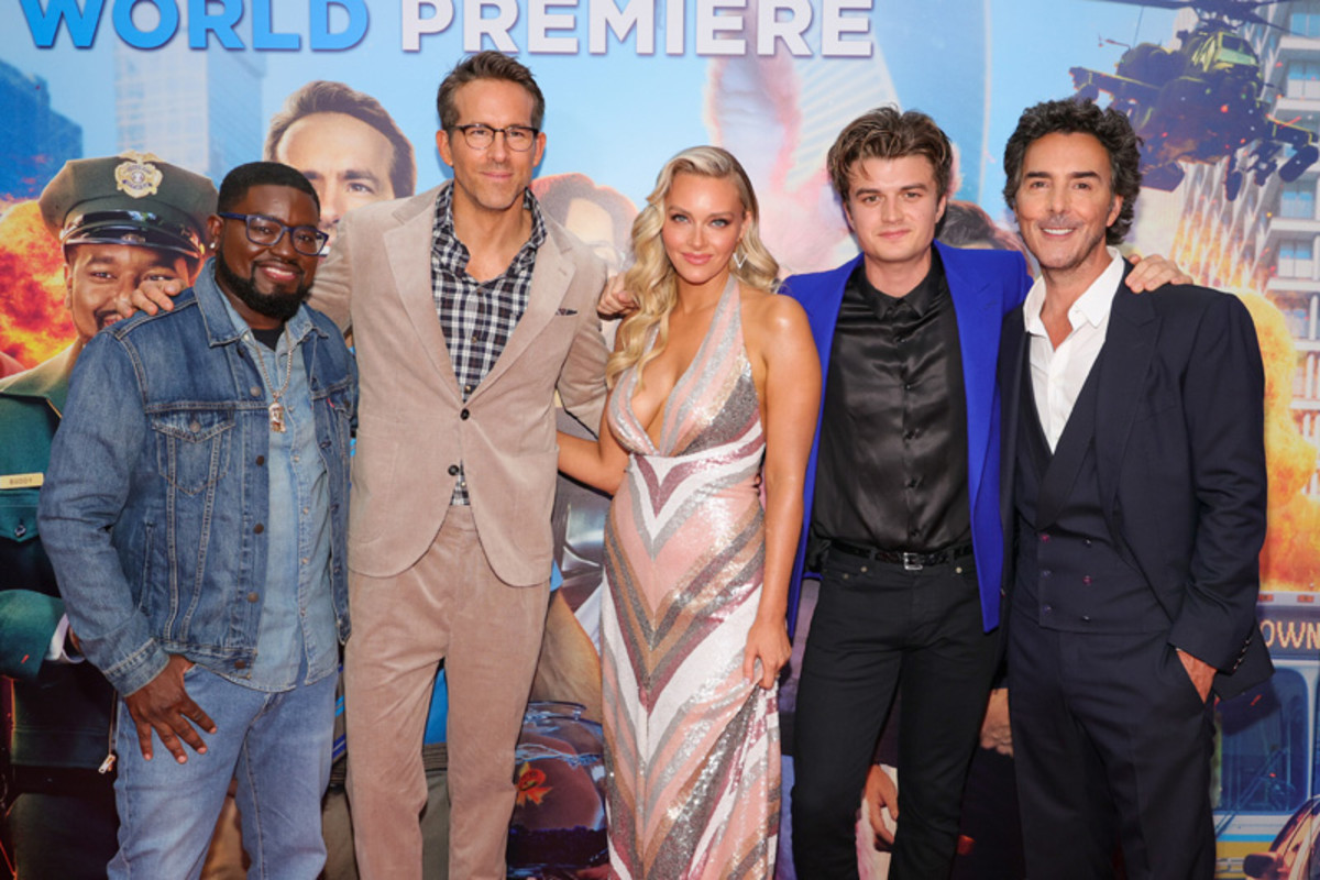 Lil Rel Howery, Ryan Reynolds, Camille Kostek, Joe Keery and Shawn Levy attend the World Premiere of 20th Century Studios' Free Guy on August 03, 2021 in New York City.
