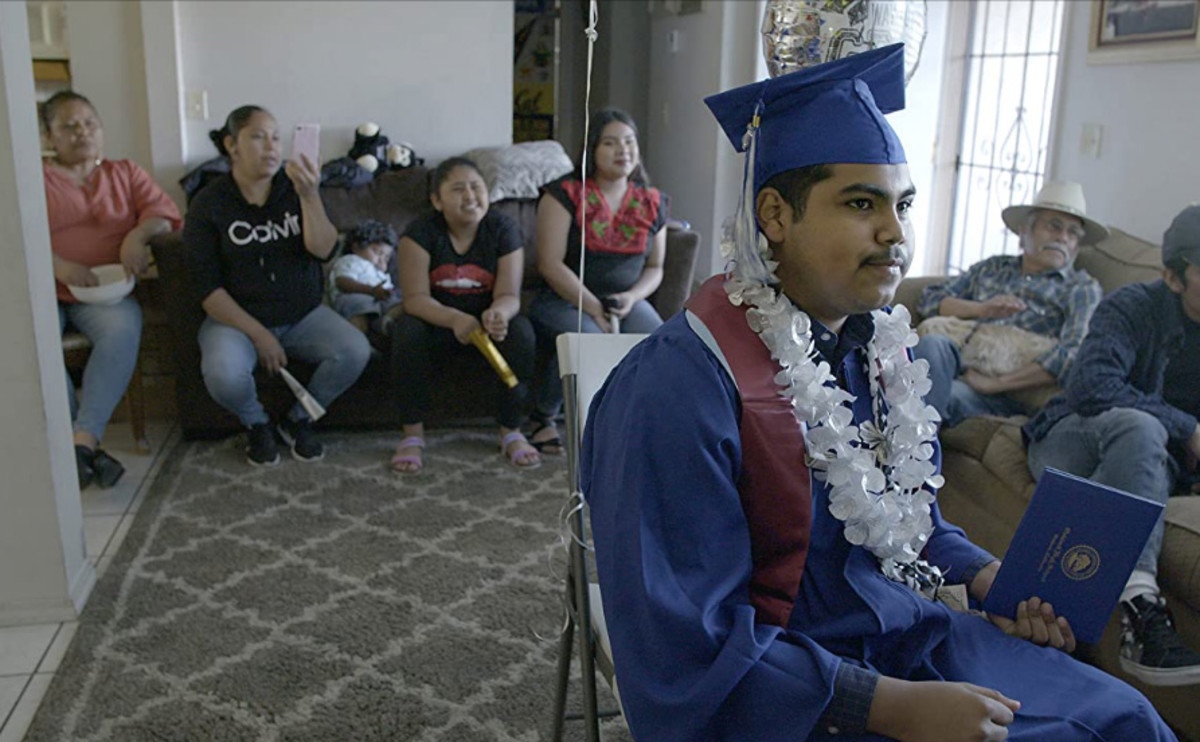 Denilson Garibo attends Oakland High School's 2020 graduation, virtually in this still photo from Homeroom.