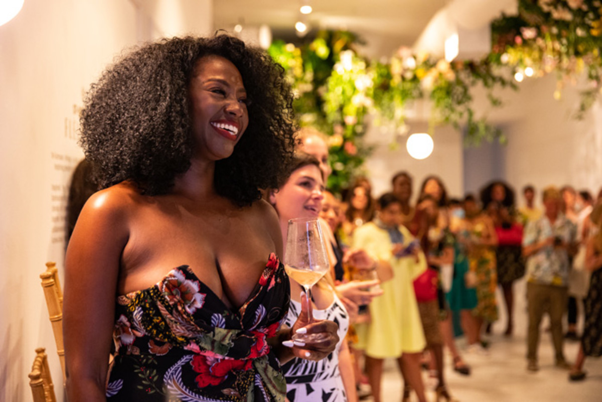 Earlecia Richelle at the launch of Fleuriste St-Germain pop-up in collaboration with Laura Kim and James Whiteside in NYC