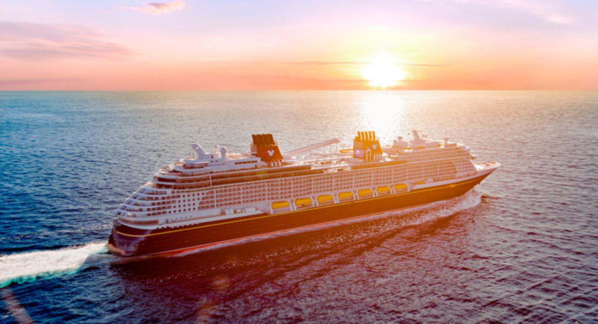 The Disney Wish cruise ship at sunset