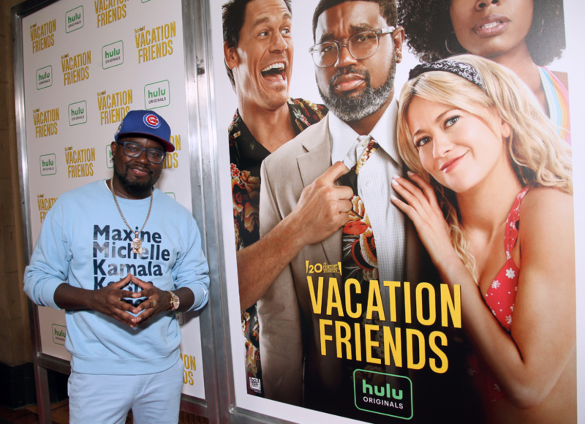 Lil Rel Howery attends the Vacation Friends Special VIP Pool Party Screening at The Hollywood Roosevelt on August 23, 2021 in Los Angeles.