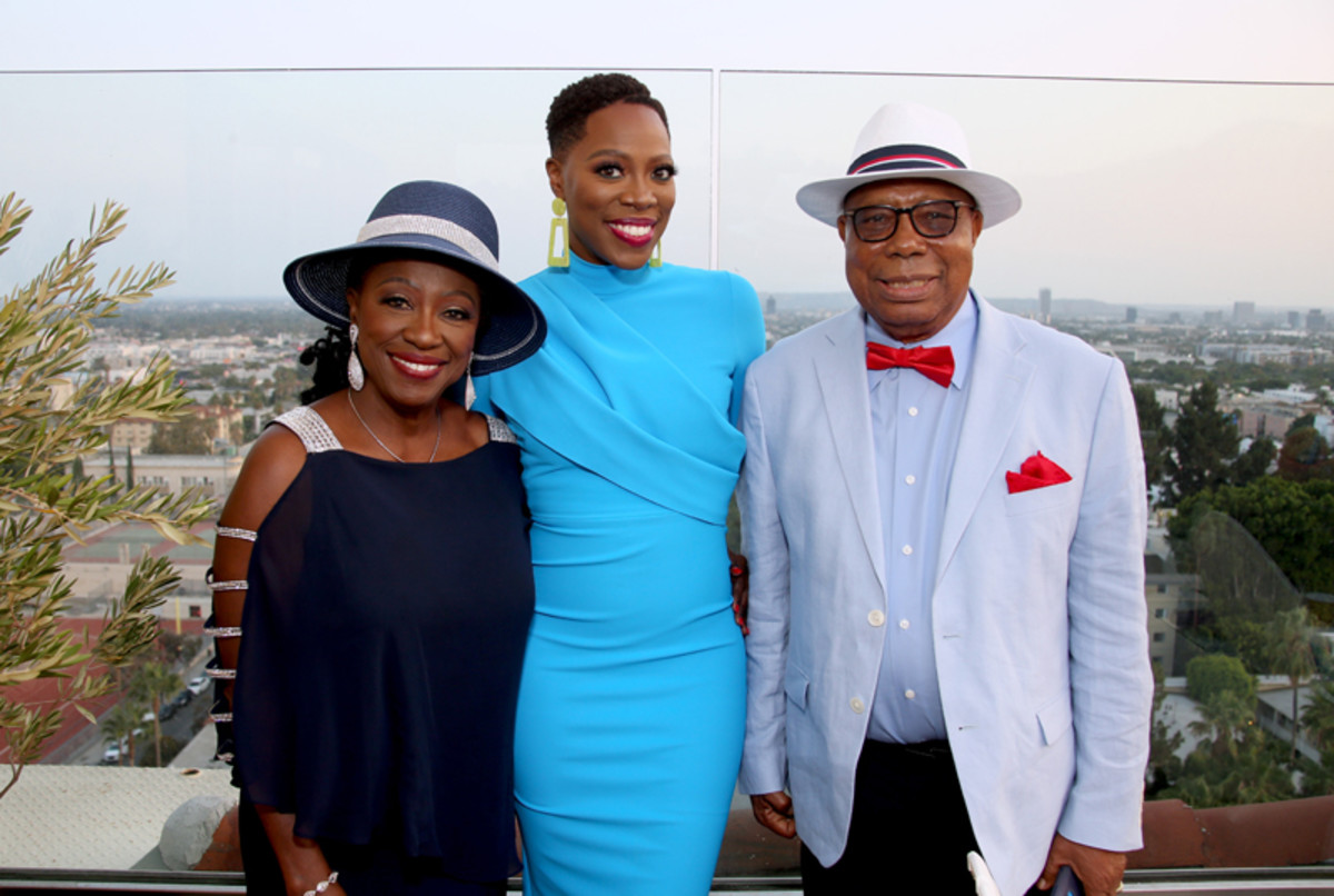 Yvonne Orji and her parents attend the Vacation Friends Special VIP Pool Party Screening at The Hollywood Roosevelt on August 23, 2021 in Los Angeles.