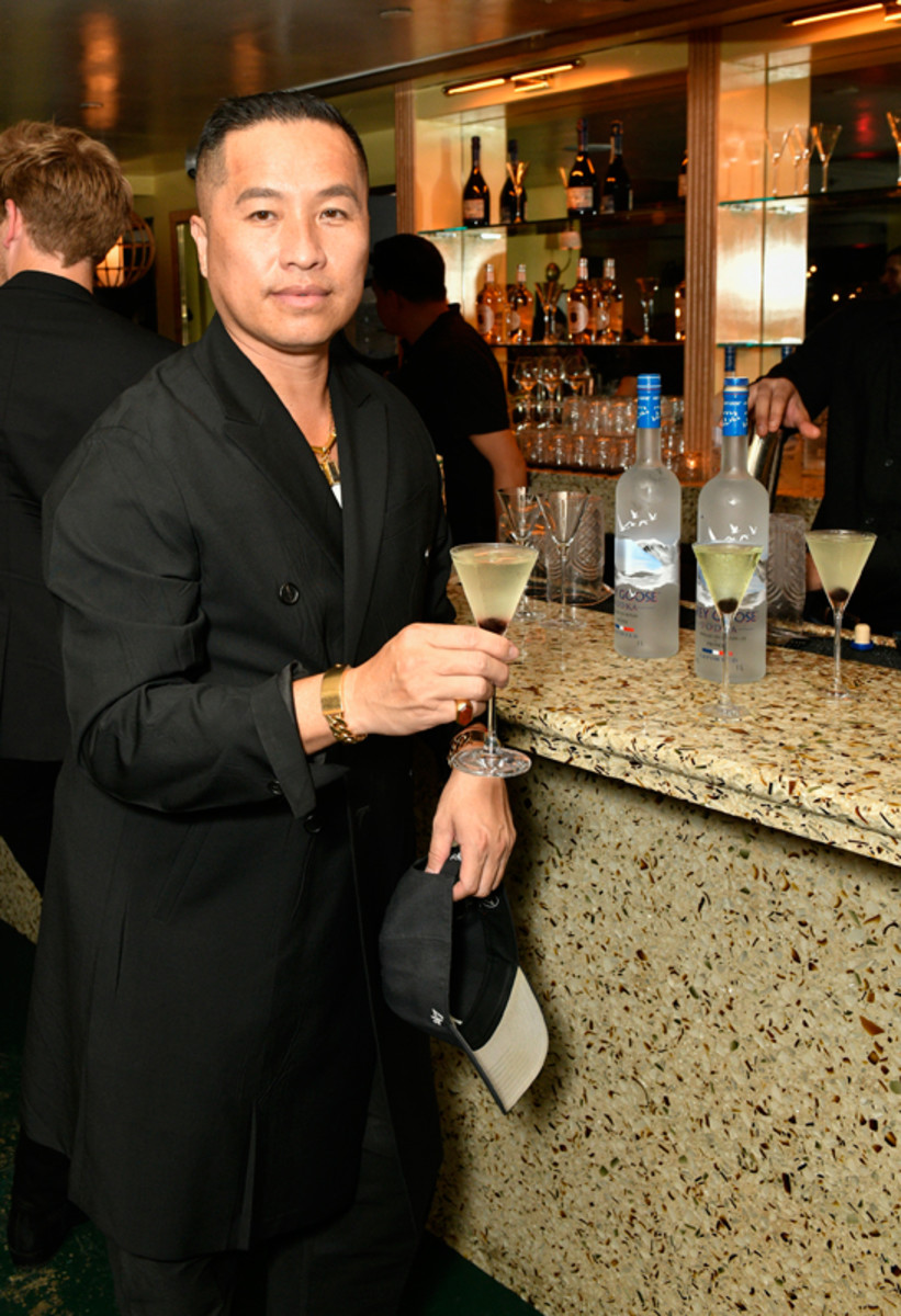 Philip Lim enjoys a martini at Prabal Gurung's Spring 2022 collection private after-show dinner with Grey Goose vodka on September 8, 2021.