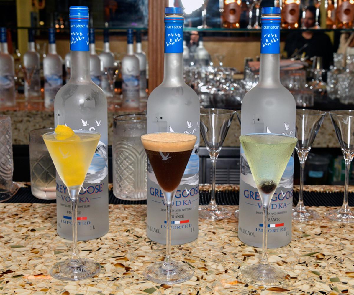 Grey Goose Vesper Martini, Espresso Martini, and Apple Martini