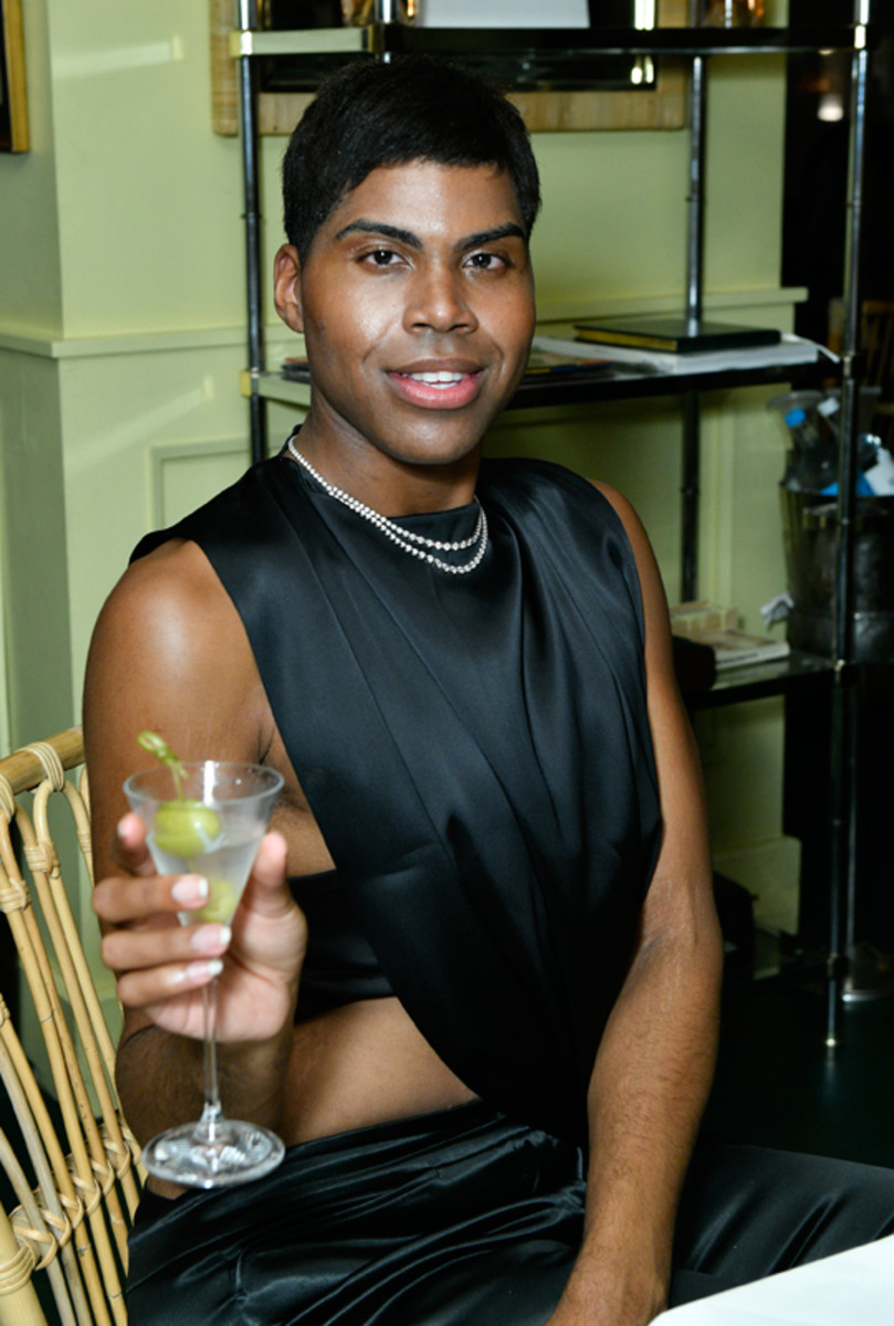 EJ Johnson enjoys a martini at Prabal Gurung's Spring 2022 collection private after-show dinner with Grey Goose vodka on September 8, 2021.