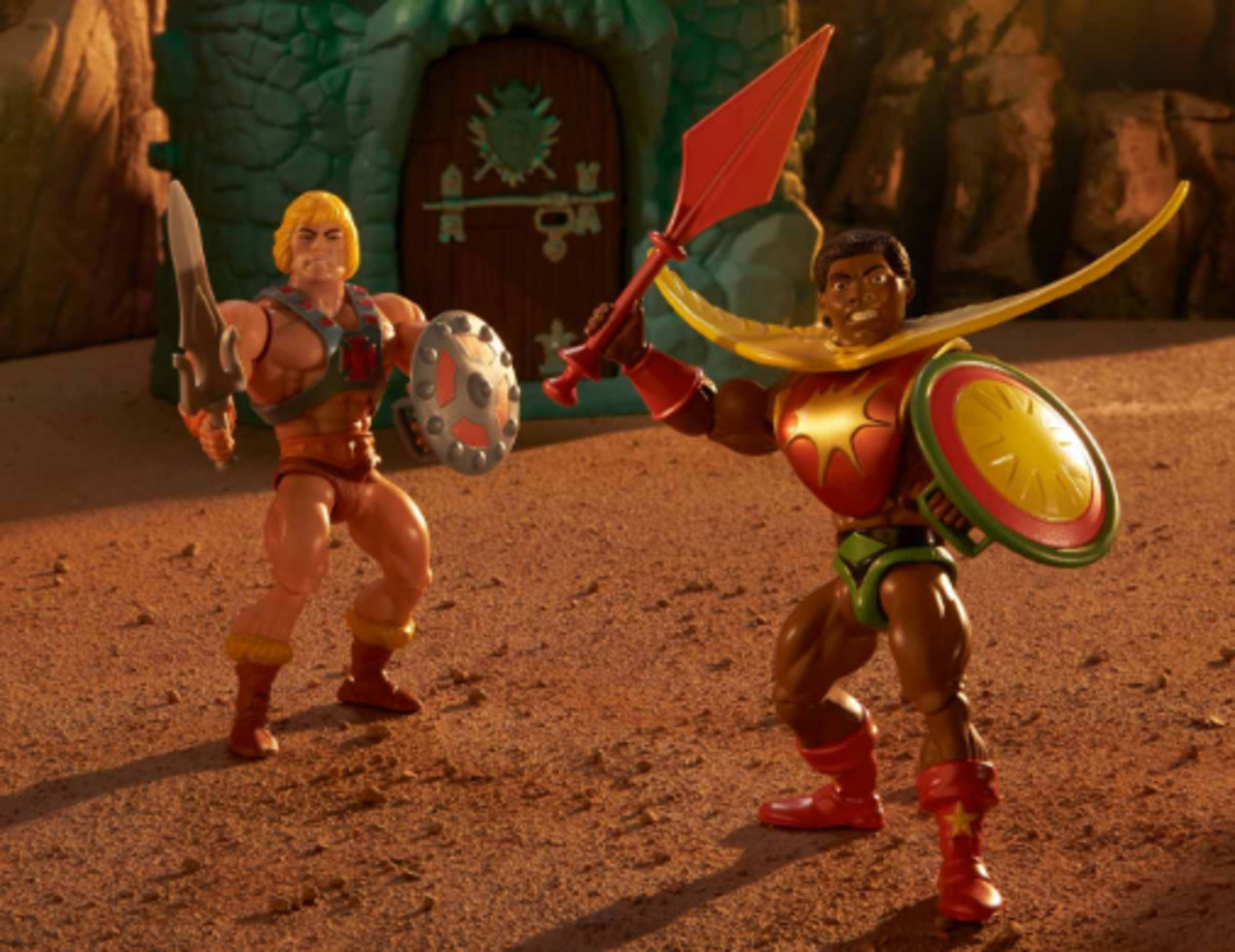 He-Man action figure and theMasters Of The Universe Origins Sun-Man Action Figure