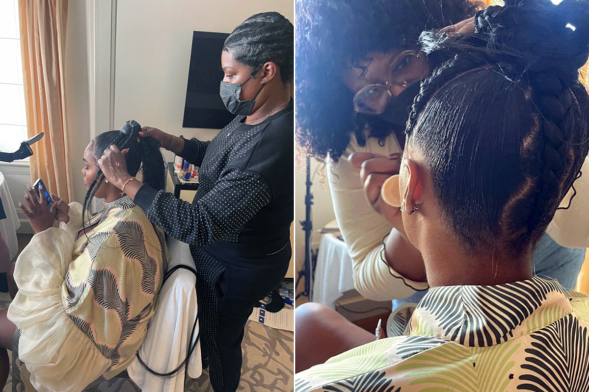 Mideyah Parker styles Precious Lee's hair for the Met Gala 2021; close-up of Parker's hair magic.
