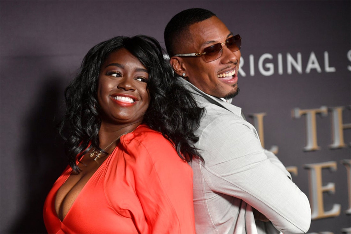 Julia Pace Mitchell and Keith Swift Jr. attend the premiere screening for the new BET+ and Tyler Perry Studios scripted series All The Queen's Men on September 9, 2021 in Atlanta.