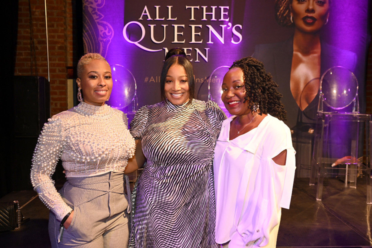 (L-R) Deandra Short, President of Production and Development for Tyler Perry Studios Michelle Sneed, and Elon Johnson attend the premiere screening for the new BET+ and Tyler Perry Studios scripted series All The Queen's Men on September 9, 2021 in Atlanta.
