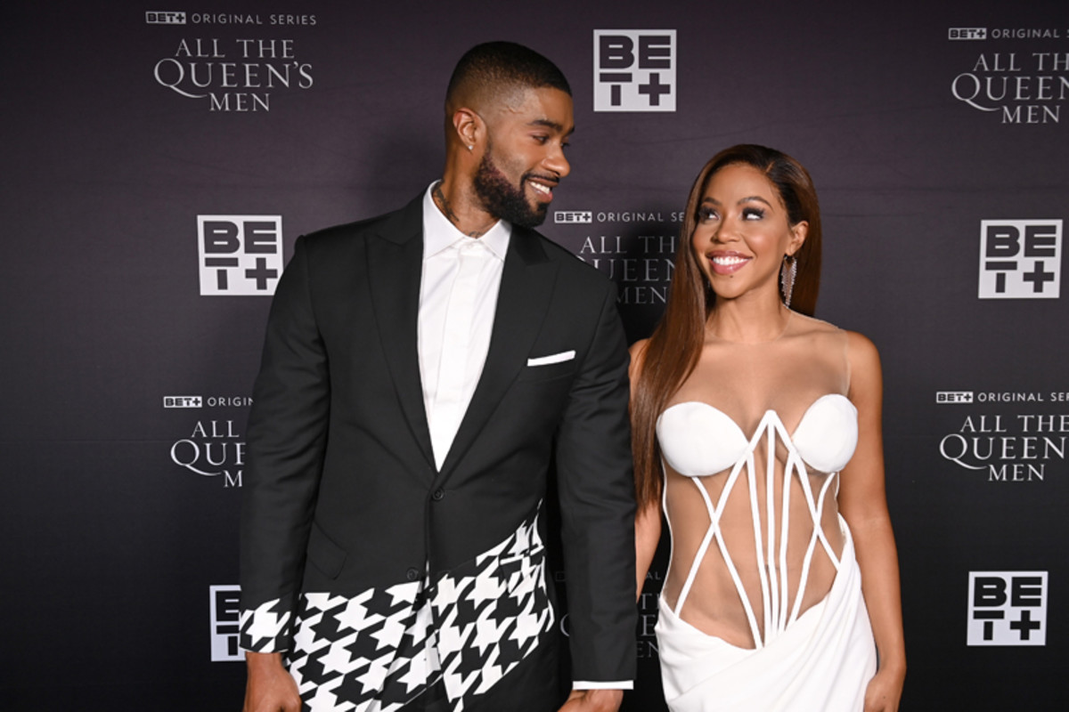 Skyh Black (L) and KJ Smith attend the premiere screening for the new BET+ and Tyler Perry Studios scripted series All The Queen's Men on September 9, 2021 in Atlanta.