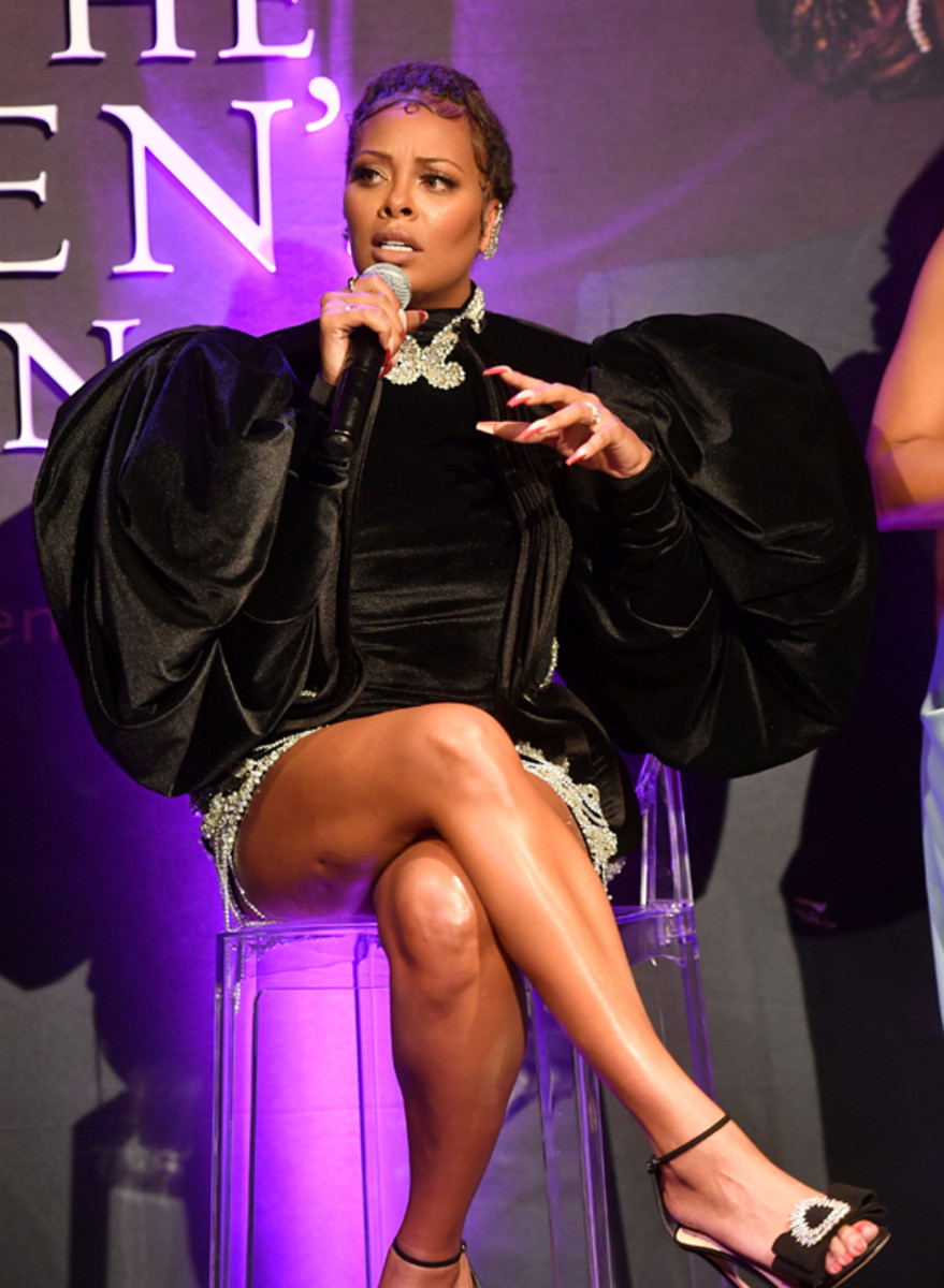 Eva Marcille discussesthe new BET+ and Tyler Perry Studios' scripted series All the Queen's Men during the premiere screening in Atlanta on September 9, 2021.