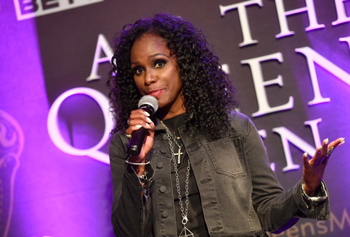 EVP, CMO at BET Networks Kimberly Evans Paige speaks onstage during the premiere screening for the new BET+ and Tyler Perry Studios scripted series All The Queen's Men on September 9, 2021 in Atlanta.
