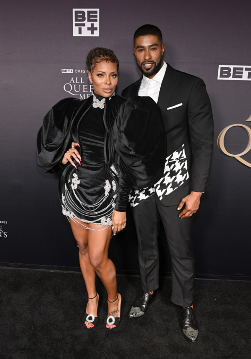 Eva Marcille and Skyh Black attend the premiere screening for the new BET+ and Tyler Perry Studios scripted series All The Queen's Men on September 9, 2021 in Atlanta.