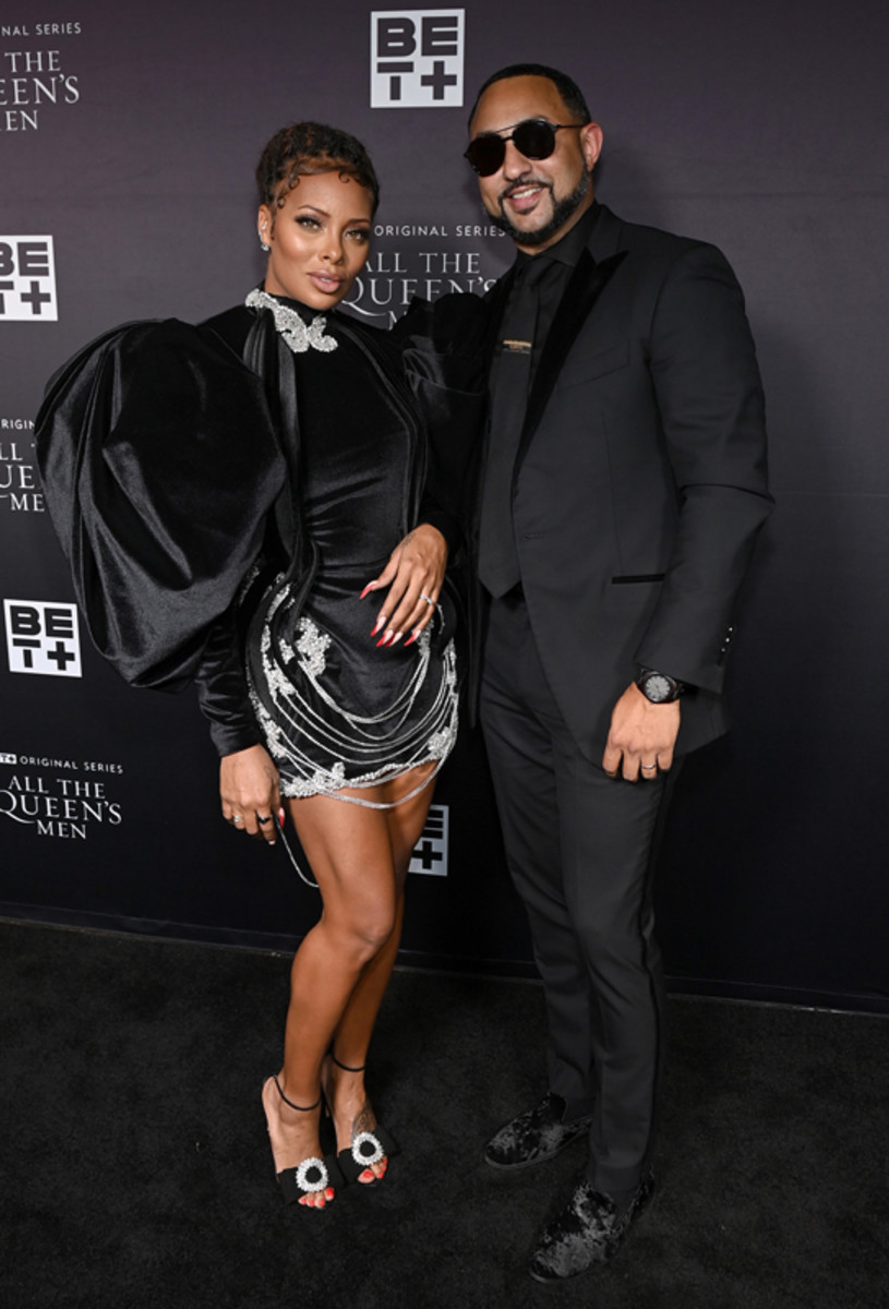 Eva Marcille and husband Michael Sterling attend the premiere screening for the new BET+ and Tyler Perry Studios scripted series All The Queen's Men on September 9, 2021 in Atlanta.
